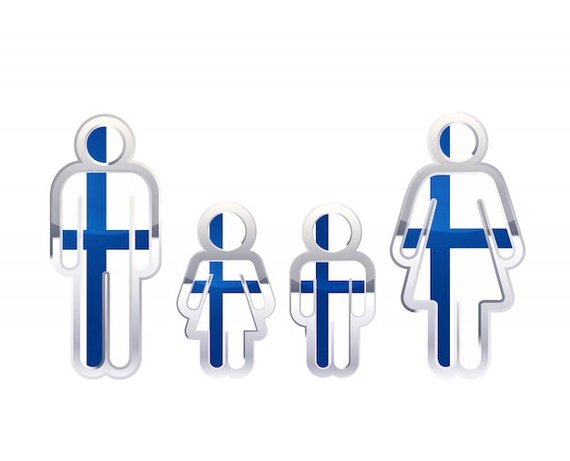 Glossy metal badge icon in man, woman and childrens shapes with finland flag, infographic element on white