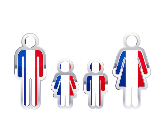 Glossy metal badge icon in man, woman and childrens shapes with france flag, infographic element on white