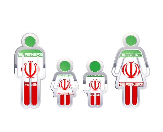 Glossy metal badge icon in man, woman and childrens shapes with iran flag, infographic element isolated on white
