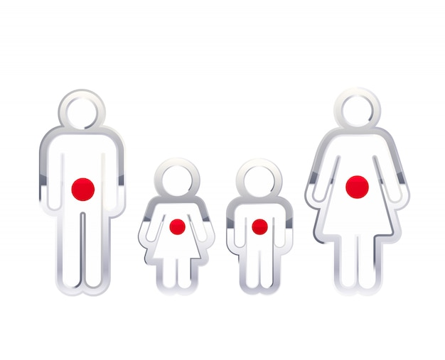 Glossy metal badge icon in man, woman and childrens shapes with japan flag, infographic element on white