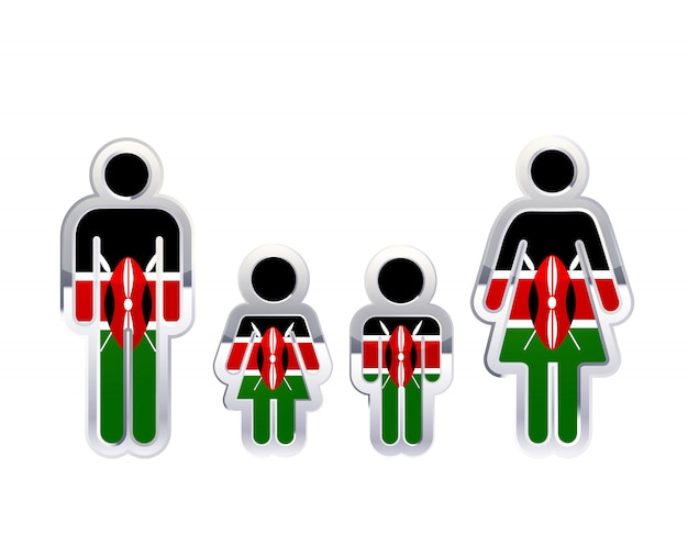 Glossy metal badge icon in man, woman and childrens shapes with kenya flag, infographic element on white