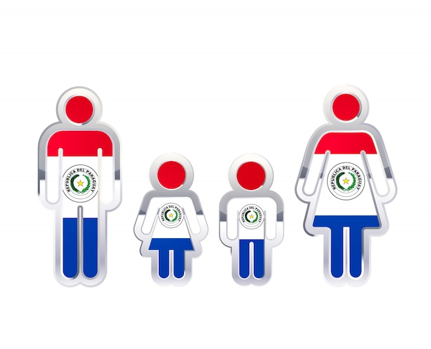 Glossy metal badge icon in man, woman and childrens shapes with paraguay flag, infographic element on white