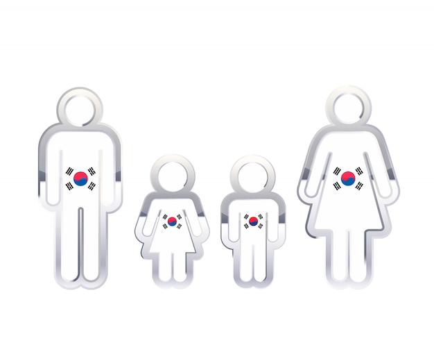 Glossy metal badge icon in man, woman and childrens shapes with south korea flag, infographic element on white