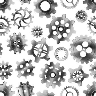 Glossy metal cogwheels on white, seamless pattern
