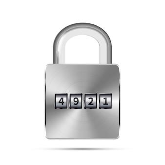 白のコード番号を持つ光沢のある金属の現実的な南京錠