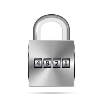 Glossy metal realistic padlock with code numbers on white