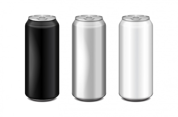 광택있는 금속 은색, 흰색 및 검은 색 알루미늄 맥주 캔. 알코올, 에너지 음료, 청량 음료, 소다, 탄산 팝, 레모네이드, 콜라에 사용할 수 있습니다. 현실적인 템플릿 세트