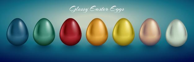 광택있는 금속 달걀 세트. 황금색, 은색, 파란색, 빨간색, 녹색, 주황색, 노란색, 흰색. 청록색 깊은 복고풍 배경.