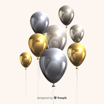 Glossy metallic and golden balloons 3d effect