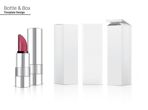 Глянцевая металлическая губная помада бланк реалистичная косметика и 3d коробка для макияжа по уходу за кожей.