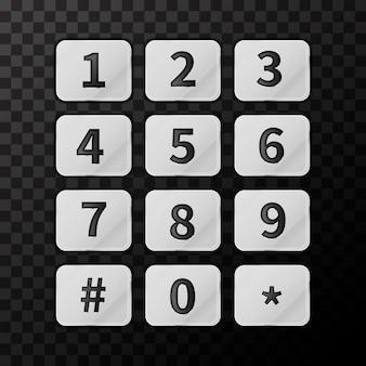透明の光沢のある金属製の電話ボタン