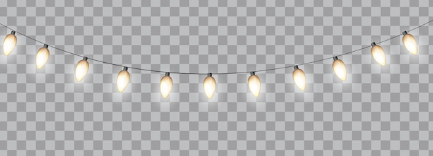 Glossy party bulb garland isolated on transparent background.