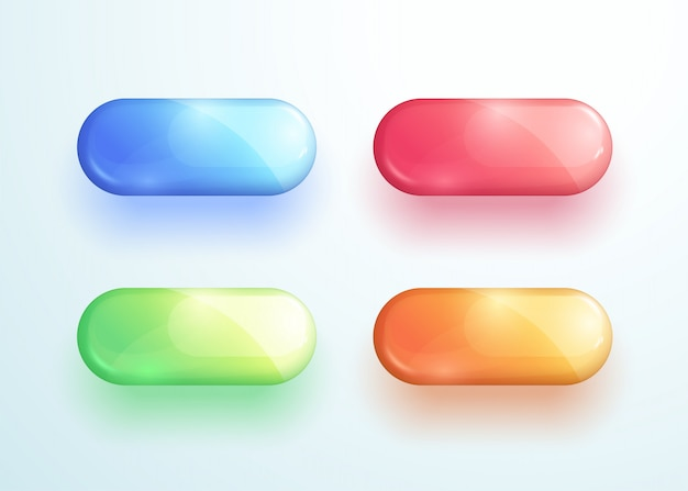 Glossy pill button shape vector elements set