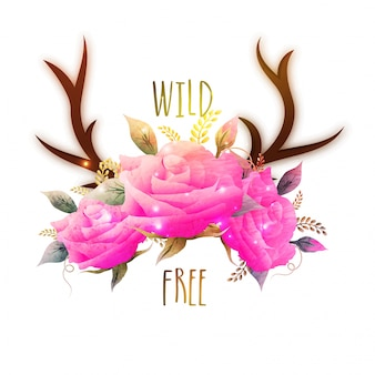 Glossy pink rose flowers with antlers or deer horns, creative boho style illustration.