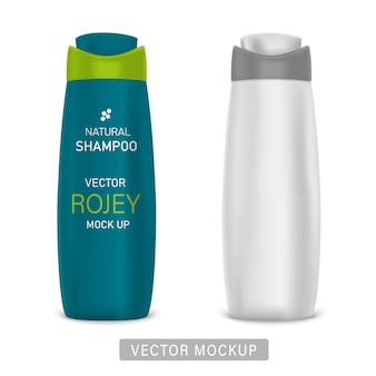 シャンプー、シャワージェル、ローション、ボディミルク、バスフォーム用の光沢のあるプラスチックボトル。サンプルデザインの写実的なパッケージングテンプレート。正面図。