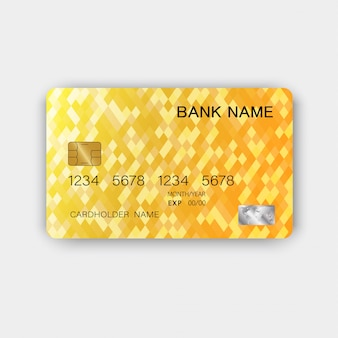 Glossy plastic luxurious credit card design. with inspiration from abstract. yellow color