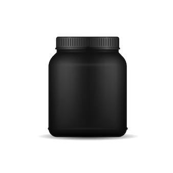 Глянцевая пластиковая упаковка, макет, d-дизайн, сывороточный протеин и черная пластиковая бутылка для набора массы