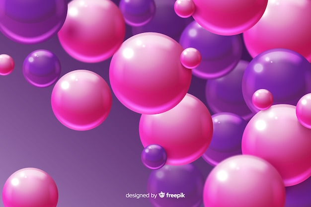 Glossy plastic spheres realistic background
