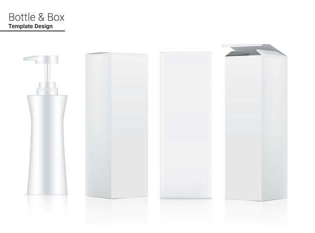 화이트닝 스킨 케어 및 노화 방지 주름 상품 흰색 배경 그림에 대 한 광택 펌프 병 현실적인 화장품 및 차원 상자. 건강 관리 및 의료.