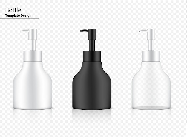Glossy pump bottle transparent, white and black realistic cosmetic for whitening skincare and aging anti-wrinkle merchandise