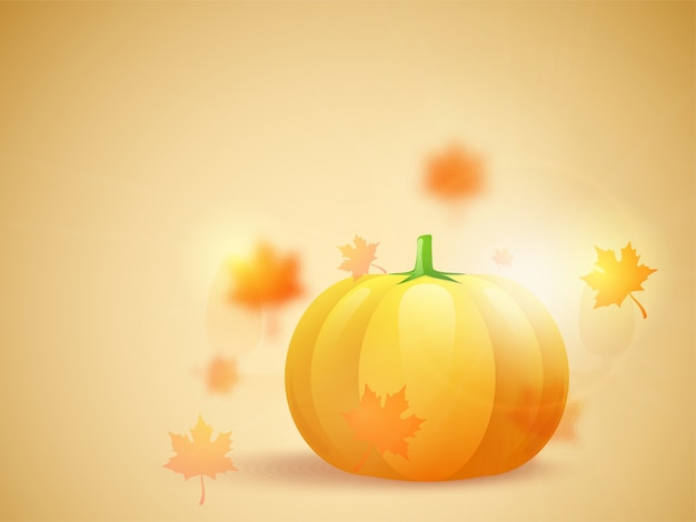 Glossy pumpkins on autumn leaves background, happy thanksgiving day concept.