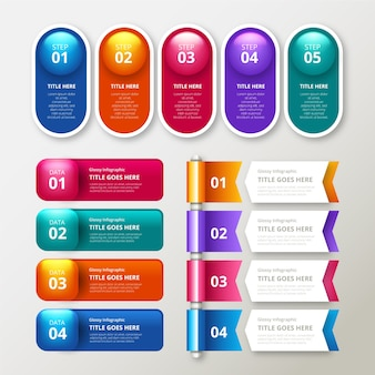 Glossy realistic infographic elements