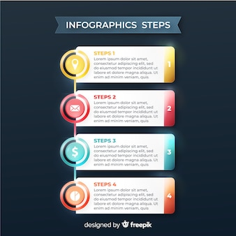 Glossy realistic infographic steps