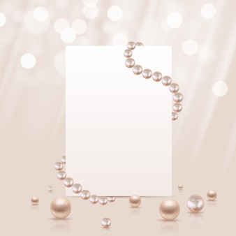 光沢のあるリアルな真珠とホワイトペーパーのテンプレート。