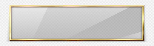黄金の光沢のあるフレームと光沢のある四角形のガラスバナー