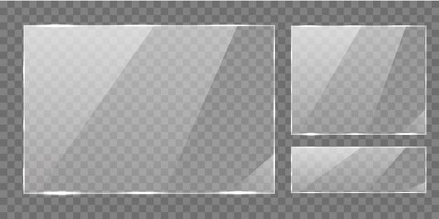 光沢のある長方形のガラスバナーフレーム