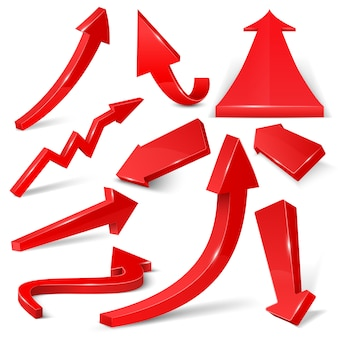 Glossy red 3d arrows isolated on white vector set. arrow web curve direction illustration