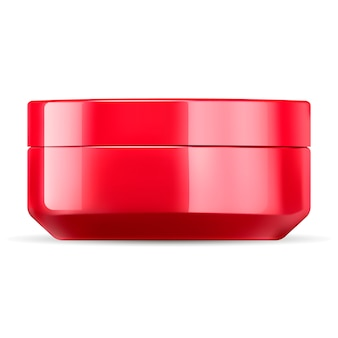 Glossy red cosmetic cream jar mockup template.
