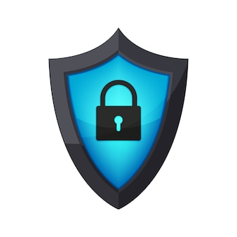 Glossy security shield with padlock icon