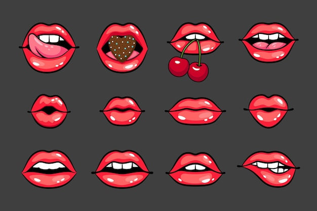 Glossy sexy smiles. cartoon beautiful women lips with cherry and heart, glamorous smiles with teeth and tongue, vector illustration concept of sensual kisses isolated on dark background
