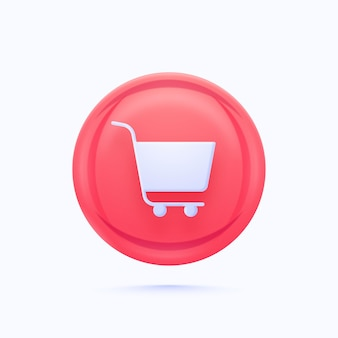 Glossy shopping or cart button element in pink and blue color.