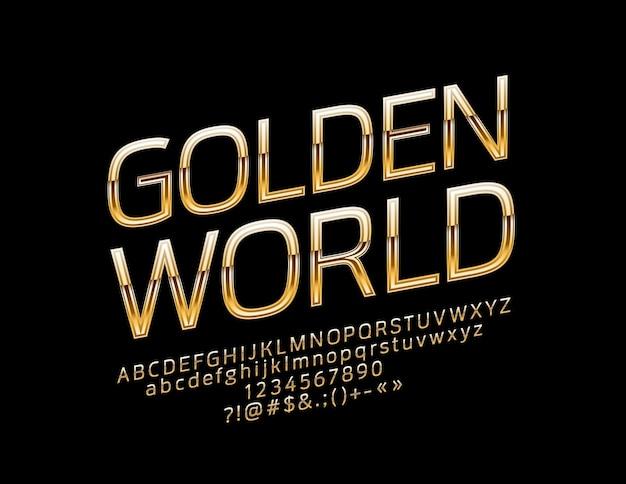 Глянцевый знак золотой мир. шикарные повернутые буквы алфавита, цифры и символы