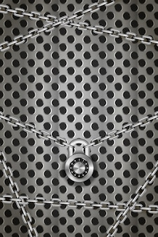 Глянцевые серебряные металлические цепи с круглым кодовым замком на металлической круглой сетке, вертикальный промышленный фон