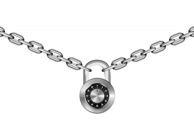 Глянцевые серебряные металлические цепочки с круглым кодовым замком на белом