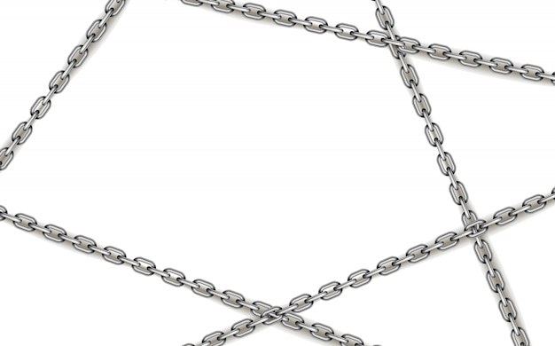 Glossy silver metal crossed chains on white