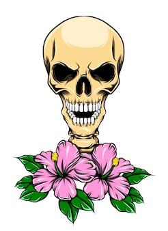 치아와 꽃으로 광택있는 해골