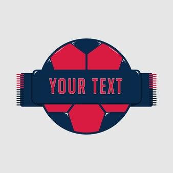光沢のある滑らかな赤いサッカーまたはフットボールのバッジテンプレート