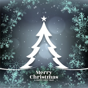 Glossy snowflakes merry christmas bright background with tree