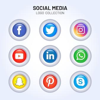 광택있는 소셜 미디어 로고 컬렉션