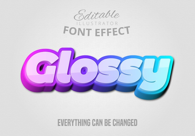 Glossy text, editable font effect