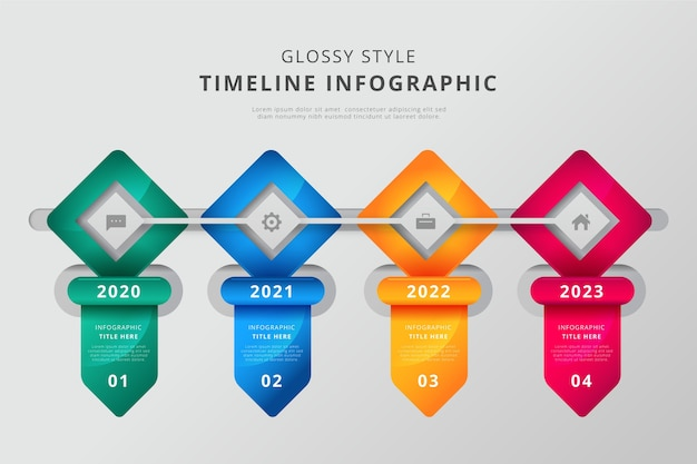 Glossy timeline infographic template