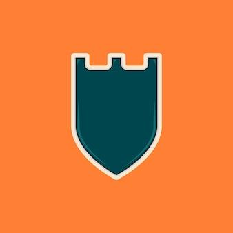 城の形をした光沢のあるトスカの盾空白のバッジのテンプレート