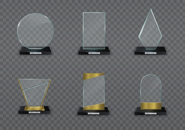 Glossy transparent prize for award. glass shiny trophy.