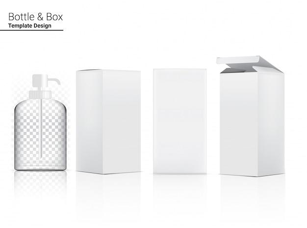 光沢のある透明なポンプボトルは、リアルな化粧品と3次元ボックスをモックアップします。ヘルスケアと医療。
