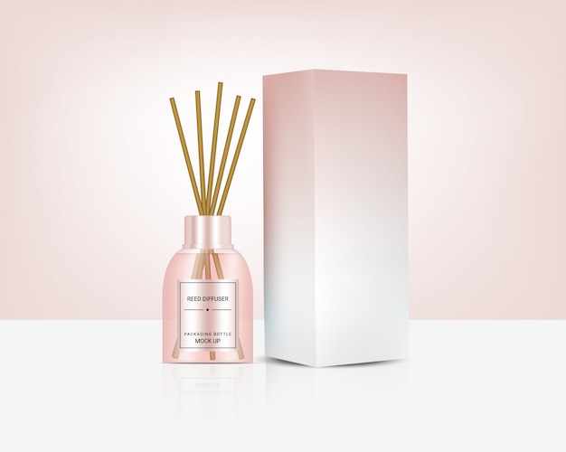 Glossy transparent reed diffuser bottle with perfume oil product branding advertising with pastel colour box. relax merchandise background illustration.