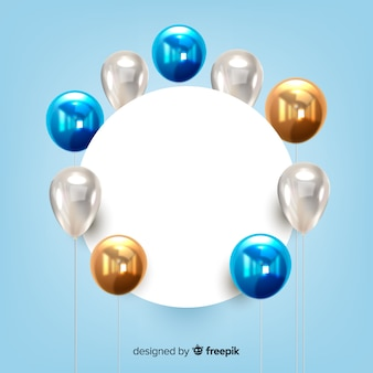 Glossy tridimensional balloon background with blank banner